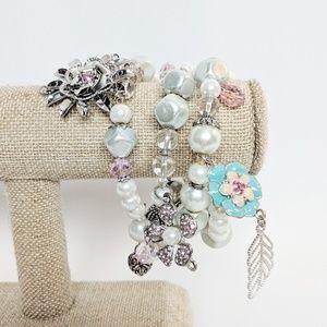 💥3 for $25💥 Fun Beaded Wrap Bracelet w/Charms